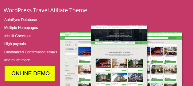 online demo wordpress travel affiliate themes